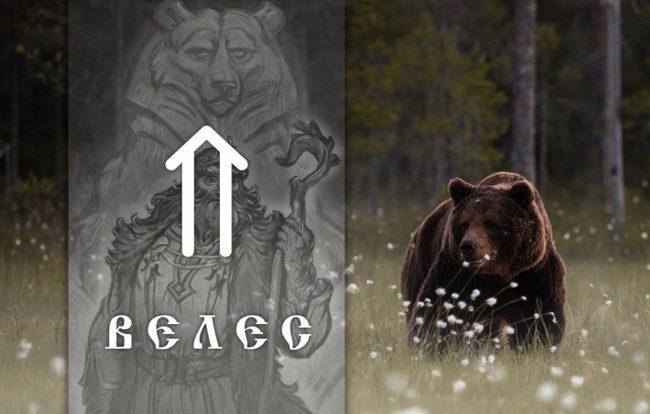 Славянский бог Велес и 2 варианта оберега печать Велеса - Медвежья лапа и лапа Волка